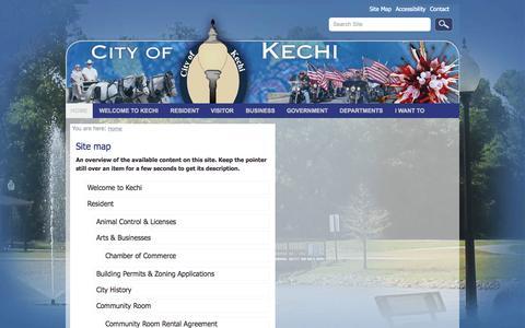 Screenshot of Site Map Page kechiks.com - City of Kechi, KS - captured Oct. 2, 2014