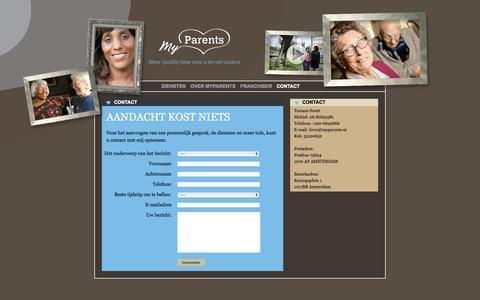 Screenshot of Contact Page myparents.nl - Contact | My Parents - captured Oct. 26, 2014