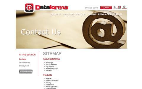 Screenshot of Site Map Page dataforma.com - Dataforma: Sitemap - captured Feb. 4, 2016