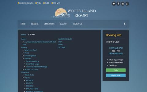 Screenshot of Site Map Page woodyi.com - SITE MAP - Woody Island Resort - captured Oct. 26, 2014