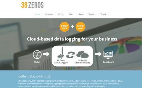 Screenshot of Home Page 38zeros.com - 38 Zeros - Cloud Data Logging | 38 Zeros - captured Sept. 30, 2014