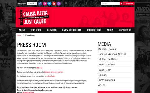 Screenshot of Press Page cjjc.org - Causa Justa Just Cause | Press Room - Causa Justa Just Cause - captured Oct. 28, 2016