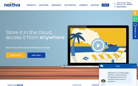 Screenshot of Pricing Page nextiva.com - Online Cloud Backup Plans and Pricing – Nextiva Drive - captured July 10, 2018