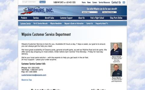 Screenshot of Support Page wipaire.com - Customer Service Department at Wipaire - captured Oct. 7, 2014