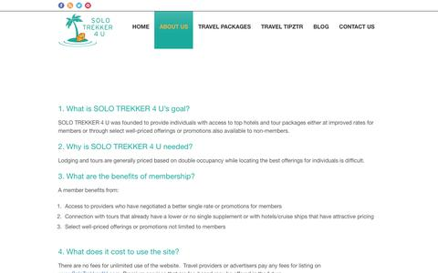 Screenshot of FAQ Page solotrekker4u.com - Trips for Single Travelers FAQ   Solo Trekker 4 U - captured Jan. 12, 2016