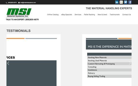 Screenshot of Testimonials Page materialsystems.com - Testimonials | Talk to an Expert: (800)835-6079 - captured July 21, 2016