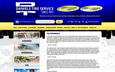 Screenshot of Testimonials Page danielstireservice.com - Testimonials - captured Sept. 30, 2014