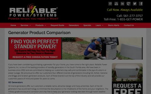 Screenshot of Products Page myreliablepower.com - Generator Products | Home Generators - captured Jan. 22, 2016