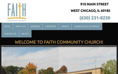 Screenshot of Home Page faithchurchwc.org - Home - captured Oct. 13, 2017