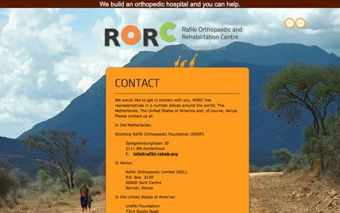 Screenshot of Contact Page rafiki-rehab.org - Rafiki - Contact - captured March 14, 2016