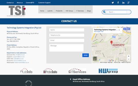 Screenshot of Contact Page tsi.co.za - Contact us - captured Feb. 14, 2016