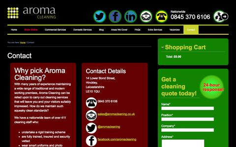 Screenshot of Contact Page aromacleaning.co.uk - Contact - - captured Oct. 4, 2014
