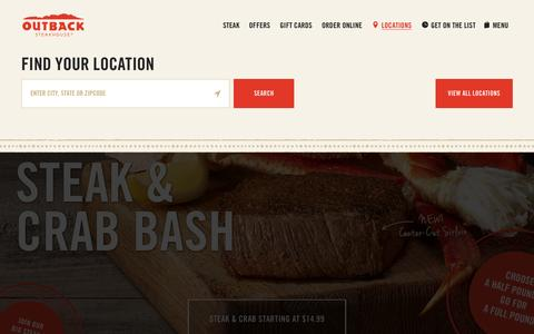 Screenshot of Locations Page outback.com - Locations - captured Aug. 22, 2016