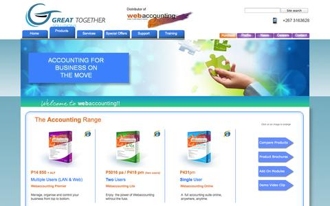 Screenshot of Products Page gtsolutionsbw.com - Products - captured Oct. 3, 2014