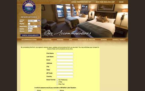 Screenshot of Signup Page lodgeatwhitefishlake.com - Signup | Lodge At Whitefish - captured Sept. 23, 2014