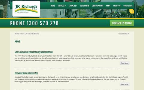 Screenshot of Press Page jrrichards.com.au - News - JR Richards & Sons | JR Richards & Sons - captured Feb. 3, 2016