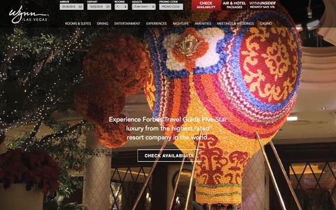 Screenshot of Home Page wynnlasvegas.com - Las Vegas Luxury Hotels   Wynn Las Vegas & Encore Resort - captured Sept. 22, 2018