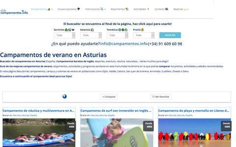 Screenshot of campamentos.info - Campamentos de verano en la Comunidad de Asturias, España - captured April 2, 2017