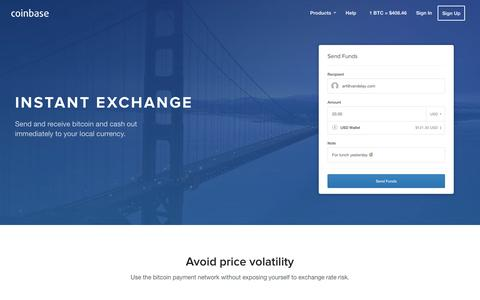 Screenshot of coinbase.com - Instant Exchange - Coinbase - captured March 19, 2016