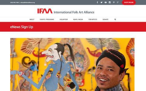 Screenshot of Signup Page folkartalliance.org - eNews Sign Up - International Folk Art Alliance - captured Oct. 21, 2015