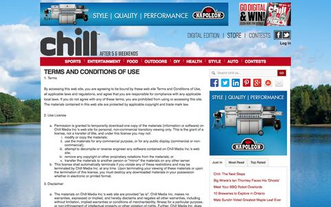 Screenshot of Terms Page ichill.ca - Terms And Conditions - captured Oct. 2, 2014