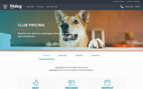 Screenshot of Pricing Page fitdog.com - Club Pricing | Fitdog | Dog Daycare, Boarding, Grooming & More - captured Oct. 10, 2018