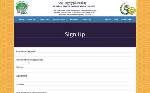 Screenshot of Signup Page bpc.bt - Sign Up – Bhutan Power Corporation Limited - captured Sept. 25, 2016