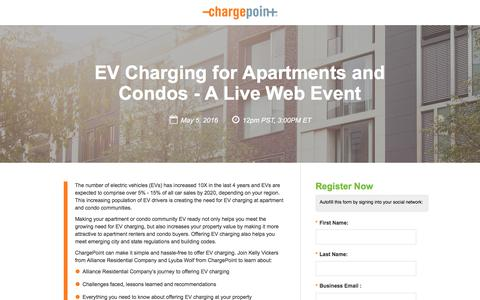 Screenshot of Landing Page chargepoint.com - EV Charging for Apartments and Condos - A Live Web Event - captured Sept. 19, 2018