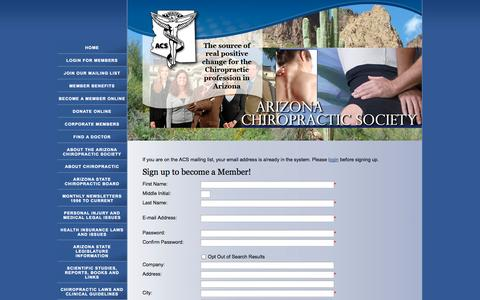 Screenshot of Signup Page azchiropractors.org - Arizona Chiropractic Society - captured Oct. 27, 2014