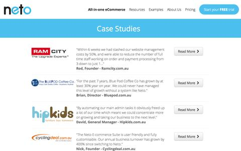 Screenshot of Case Studies Page neto.com.au - E-commerce Case Studies - captured Oct. 26, 2014