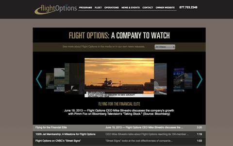 Screenshot of Press Page flightoptions.com - Flight Options In The News | Flight Options Videos | Flight Options LLC - captured Sept. 23, 2014