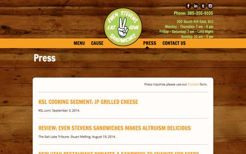 Screenshot of Press Page evenstevens.com - Press | Even Stevens Sandwiches Even Stevens Sandwiches - captured Sept. 23, 2014