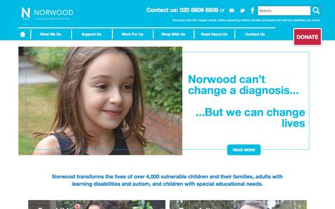 Screenshot of Home Page Privacy Page norwood.org.uk - Norwood - captured Sept. 20, 2018