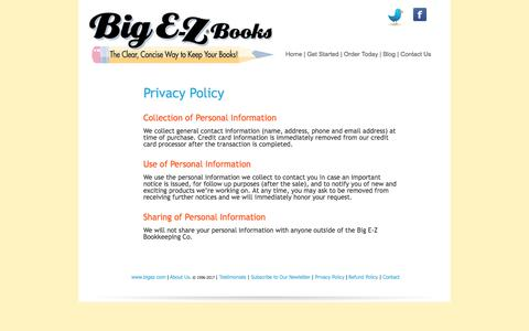 Screenshot of Privacy Page bigez.com - Privacy Policy - captured Oct. 10, 2017