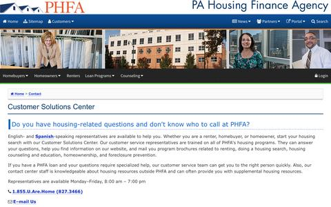 Screenshot of FAQ Page phfa.org - Customer Solutions Center - captured March 22, 2017