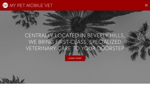 Screenshot of Home Page mypetmobilevet.com - My Pet Mobile Vet - captured Sept. 20, 2018