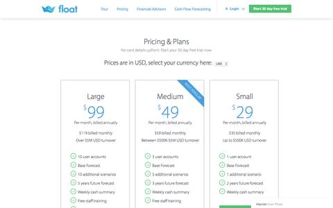 Screenshot of Pricing Page floatapp.com - Harriet says... - captured Dec. 17, 2016