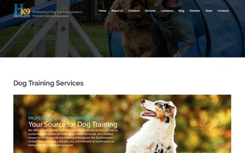 Screenshot of Services Page highlandcanine.com - Quality dog training services customized to meet your individual needs. - captured Sept. 28, 2018