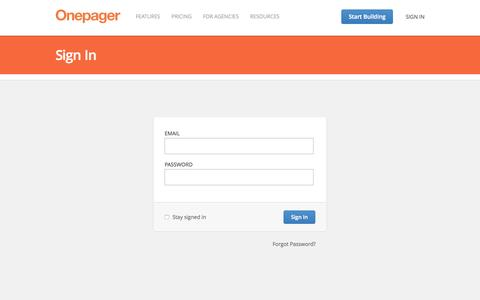 Screenshot of Login Page onepagerapp.com - Onepager - Build a simple website for your small business - captured June 22, 2015