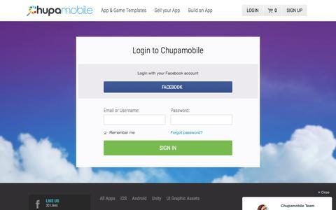 Screenshot of Login Page chupamobile.com - Login to Chupamobile - captured Dec. 9, 2015