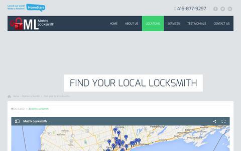 Screenshot of Locations Page matrixlocksmith.ca - Find your local locksmith | - captured Feb. 18, 2016