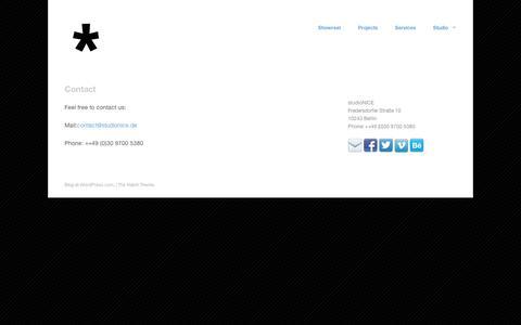 Screenshot of Contact Page wordpress.com - Contact   studioNICE - captured Sept. 12, 2014