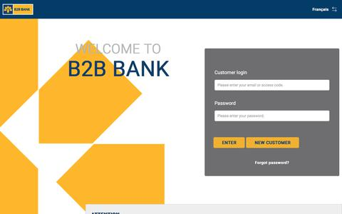 Screenshot of Signup Page Login Page b2bbank.com - B2B Bank - Personal Banking - captured Sept. 27, 2019