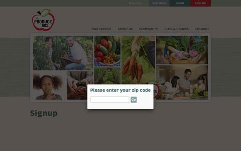 Screenshot of Signup Page theproducebox.com - The Produce Box - Signup - captured May 4, 2016