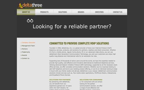 Screenshot of About Page deltathree.com - Deltathree VoIP Provider - Company Overview - captured Sept. 30, 2014