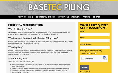 Screenshot of FAQ Page basetecpiling.co.uk - Frequently Asked Questions - FAQs - Basetec Piling Ltd - captured Oct. 5, 2018