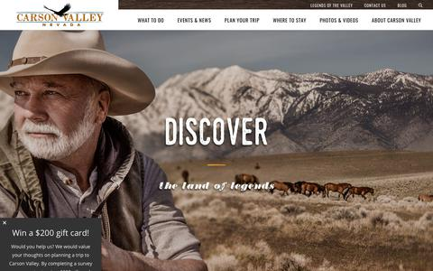 Screenshot of Home Page visitcarsonvalley.org - Carson Valley Events, Hotels, News, Recreation, Dining | Genoa, Gardnerville, Minden, Topaz Lake | Carson Valley Visitors Authority - captured Sept. 27, 2018