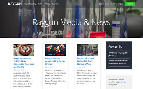 Screenshot of Press Page raygun.io - Raygun Press | Raygun - captured Nov. 18, 2015