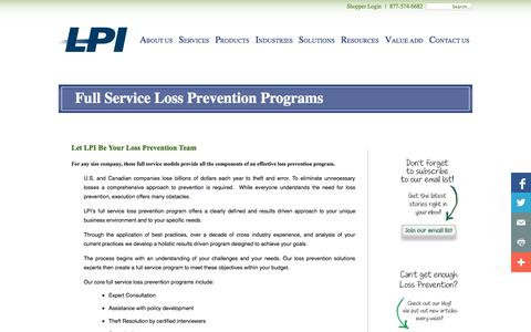 Screenshot of Services Page lpinnovations.com - Full Service Loss Prevention Programs - captured Sept. 26, 2014