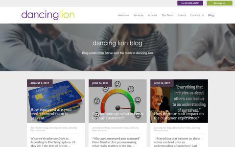Screenshot of Blog dancinglion.com - Blog - Customer Service Skills & Tips - captured Oct. 13, 2017